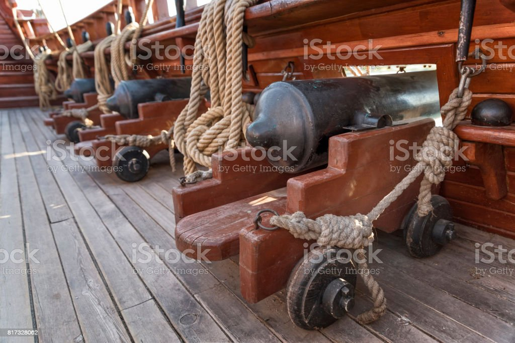 Cannons At The Deck Of A Galleon stock photo