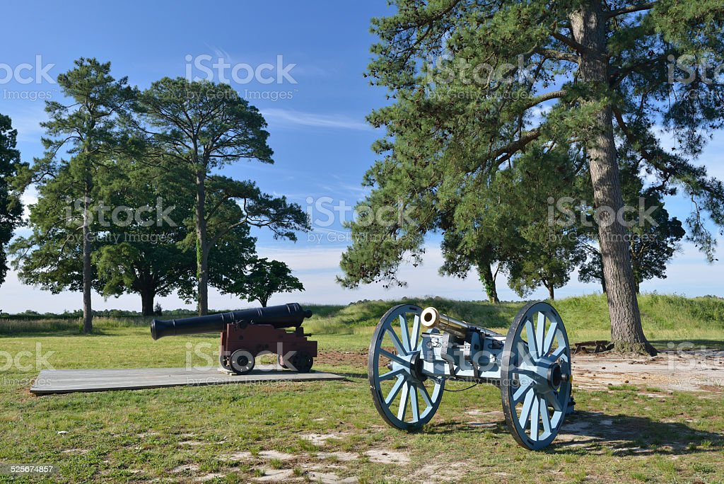 Cannons at Yorktown Battlefield in Virginia stock photo