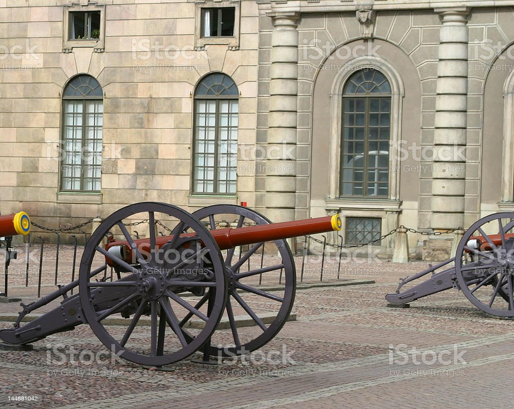 Cannons in front of the royal palace, Stockholm stock photo