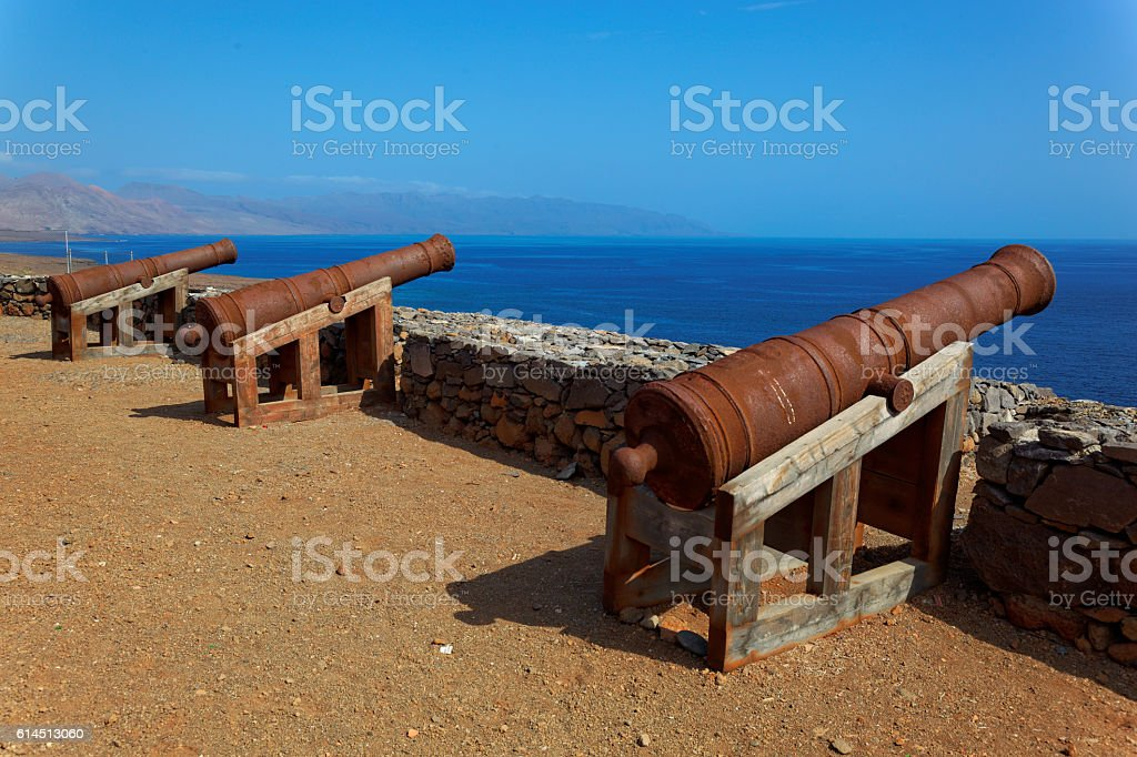 Cannons on Preguica, Sao Nicolau island, Cape Verde stock photo