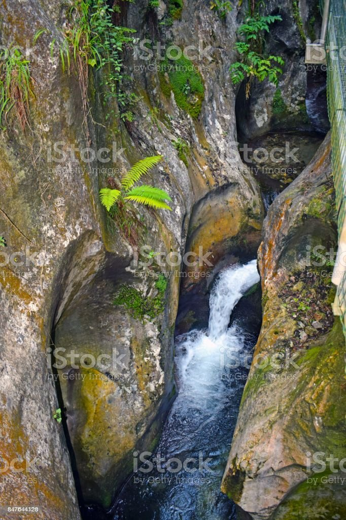 Cannons ravines precipices of mountain stock photo