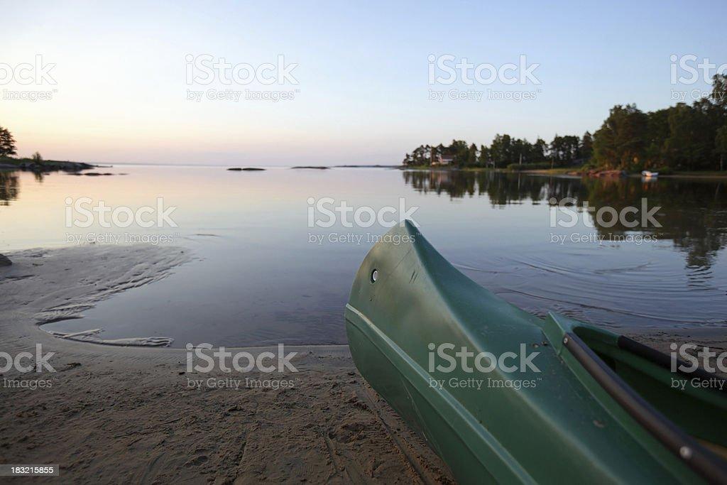Canoe and lake stock photo