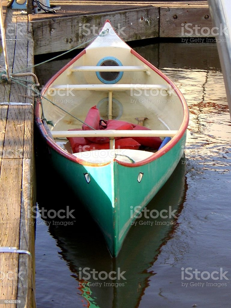 canoe at dock royalty-free stock photo