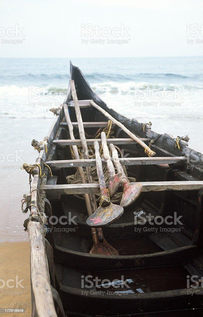 Canoe at seashore royalty-free stock photo