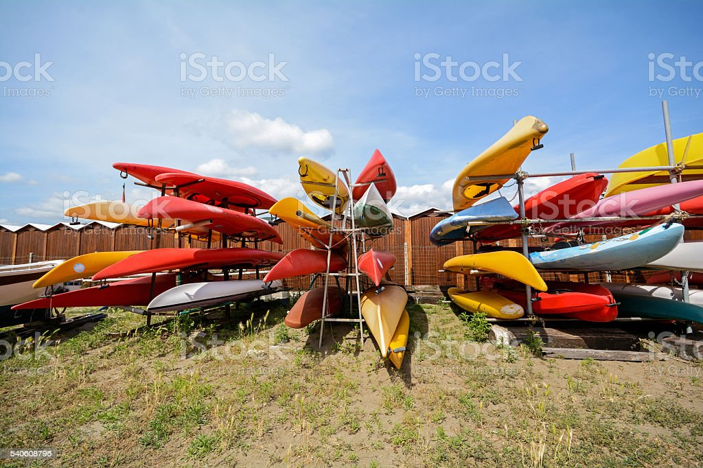 Canoe boats on the beach of Sestri Levante, Italy Europe stock photo