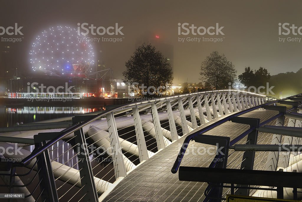 Canoe Bridge Night, Vancouver royalty-free stock photo