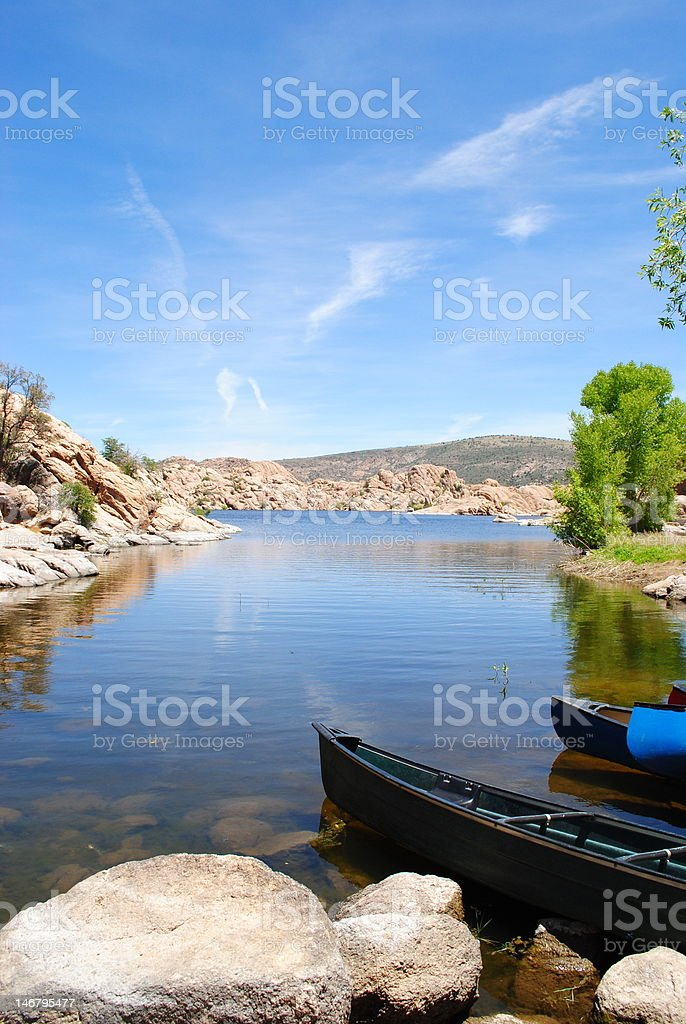 Canoe by a Lake stock photo