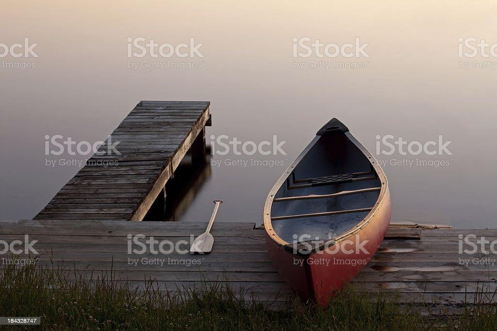 Canoe by the Dock royalty-free stock photo