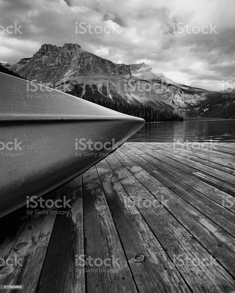 Canoe Emerald Lake stock photo