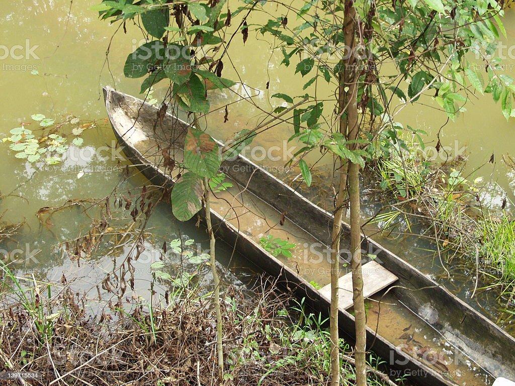 canoe in a lagoon royalty-free stock photo
