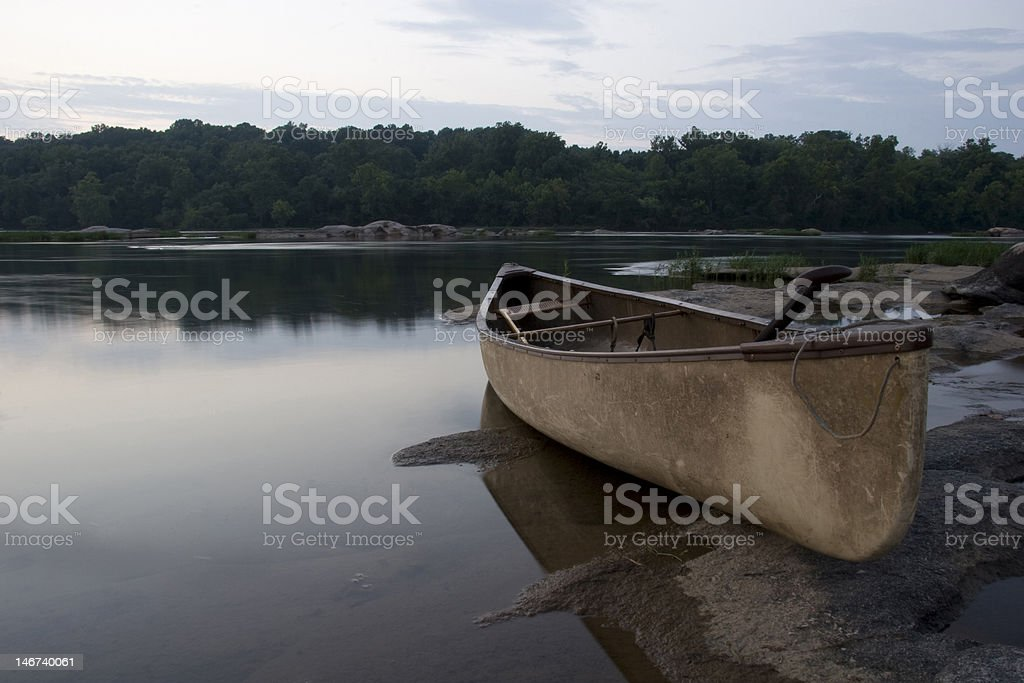 Canoe in James River Richmond Virginia stock photo