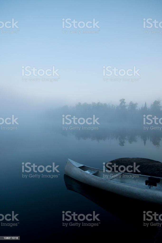 canoe in the Boundary Waters of northern Minnesota stock photo