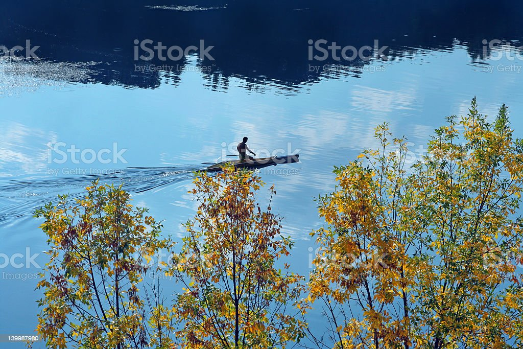 Canoe in the lake royalty-free stock photo