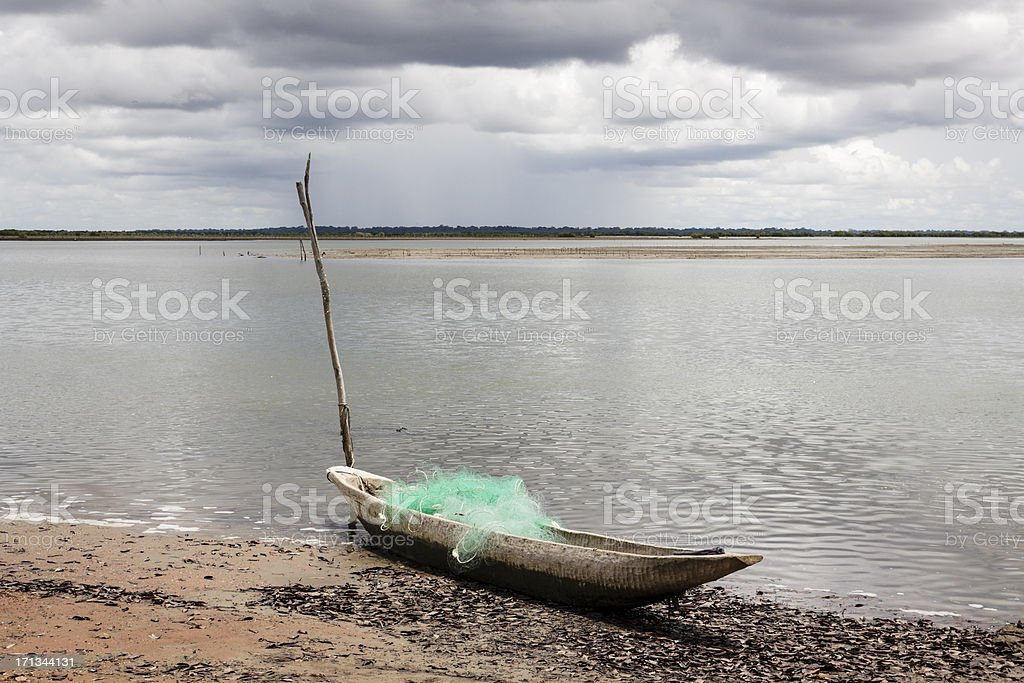 Canoe of fishing in Senegal stock photo
