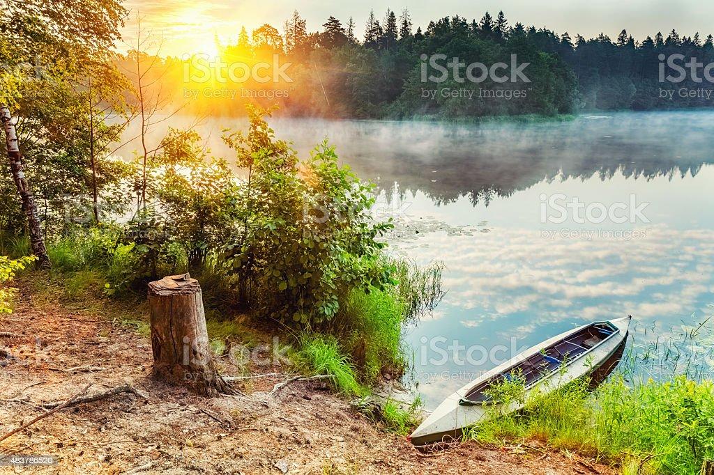 Canoe on a lake stock photo