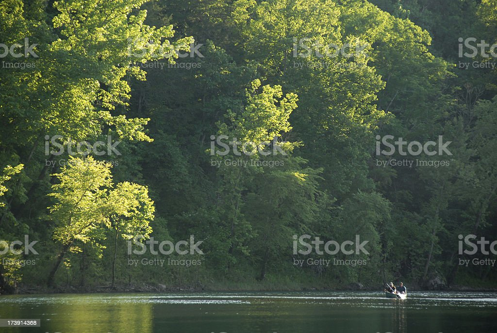 Canoe on a River stock photo