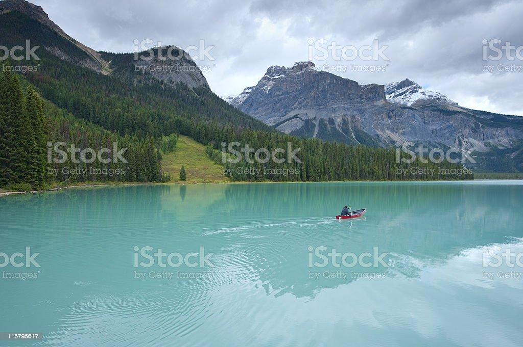 Canoe on Emerald Lake stock photo