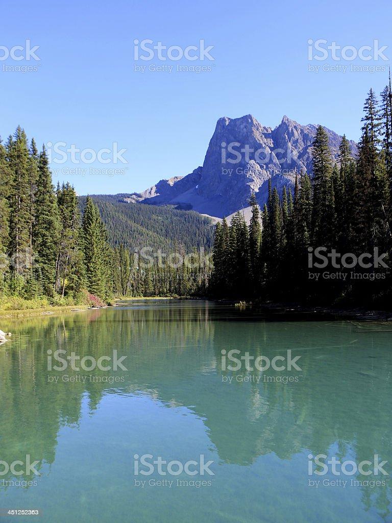 Canoe on Emerald Lake, Yoho National Park, British Columbia, Canada stock photo