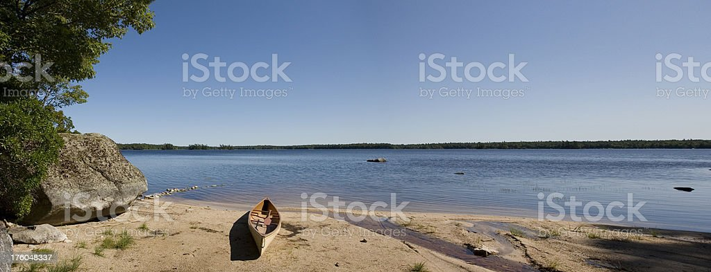 Canoe on Kejimkujik stock photo