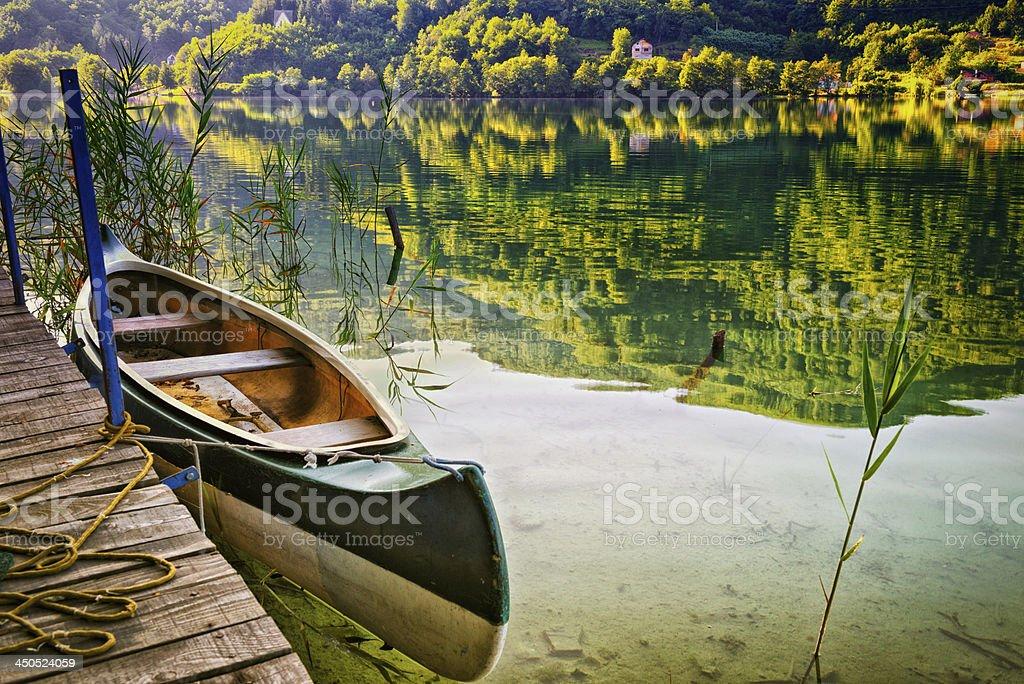 Canoe on lake royalty-free stock photo
