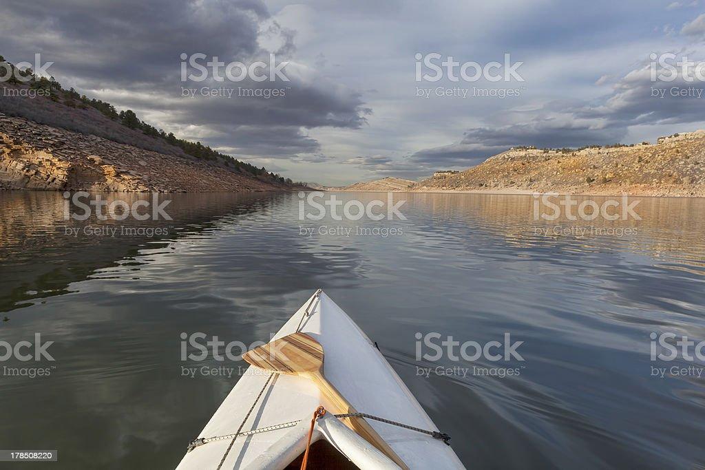 canoe on mountain lake royalty-free stock photo