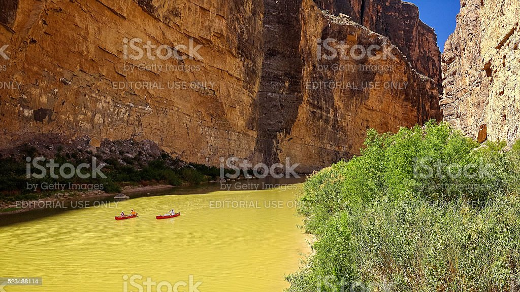 Canoe on Rio Grande River in Big Bend National Park stock photo