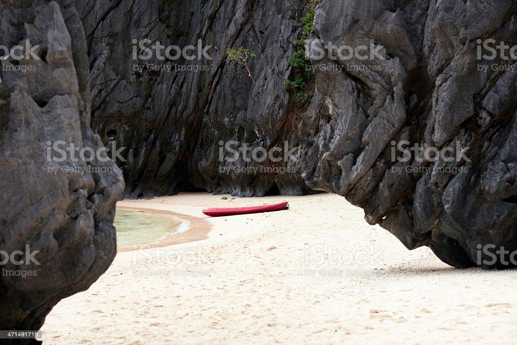 Canoe on the Exotic beach royalty-free stock photo