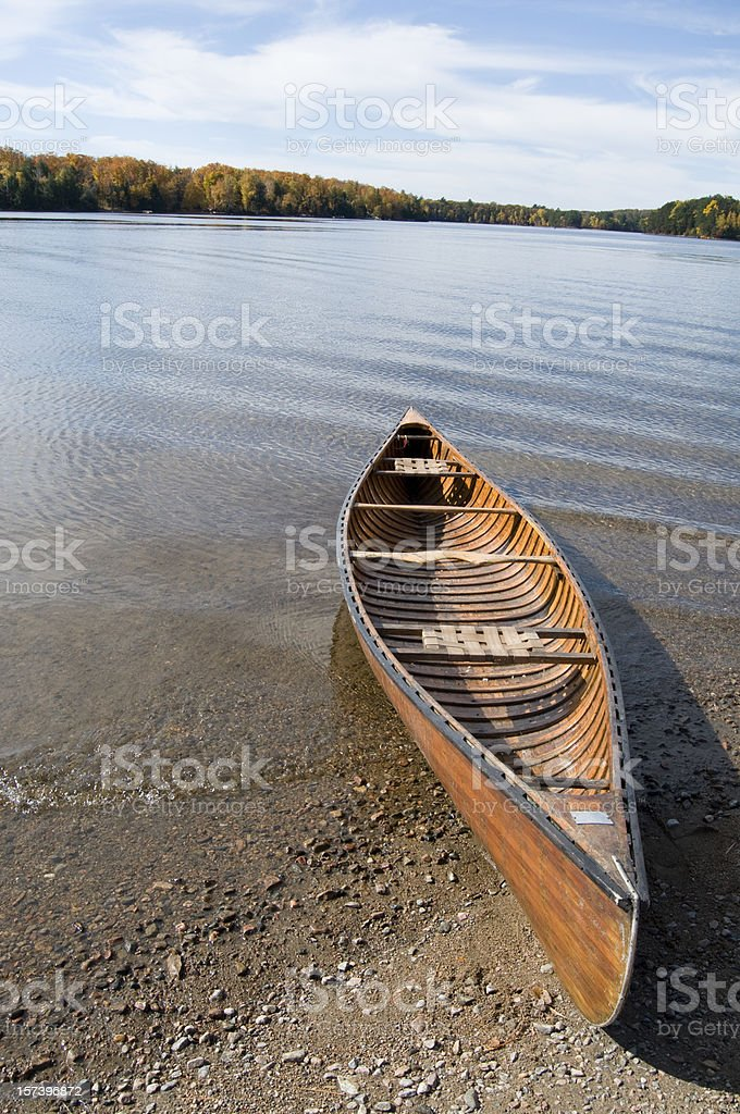 Canoe on Wilderness Lake stock photo