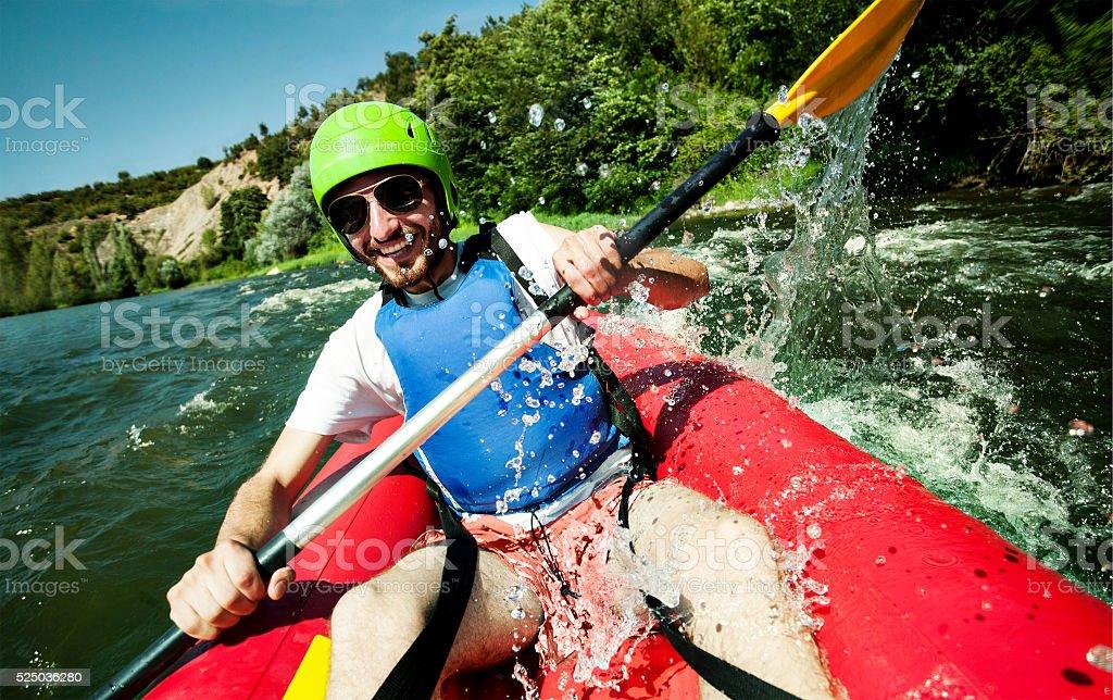 Canoe rafting river fun stock photo