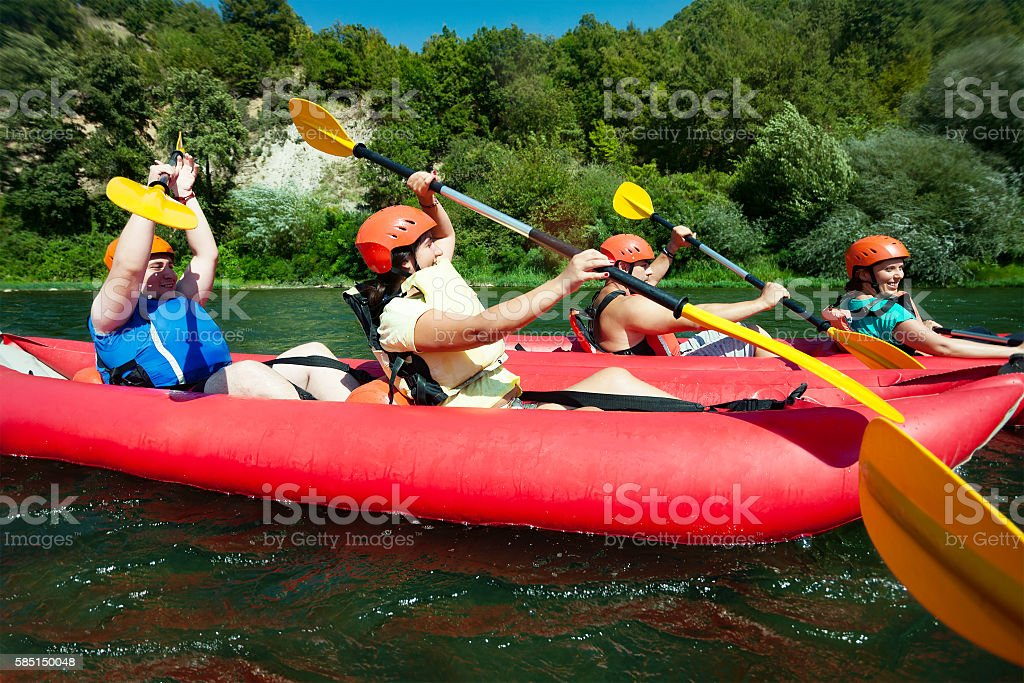 Canoe rafting river stock photo