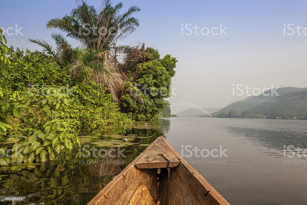 Canoe ride in Africa stock photo