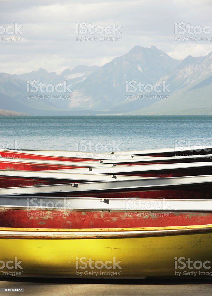 Canoe Rowboat Dinghy Dock Summer Camp stock photo
