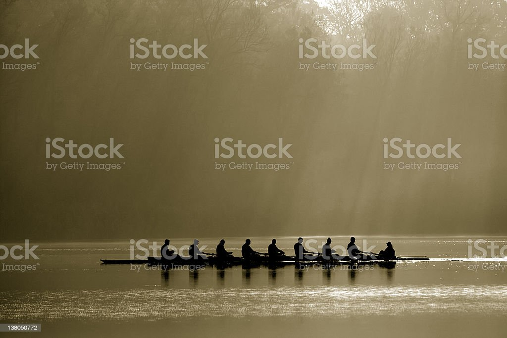 Canoe team stock photo