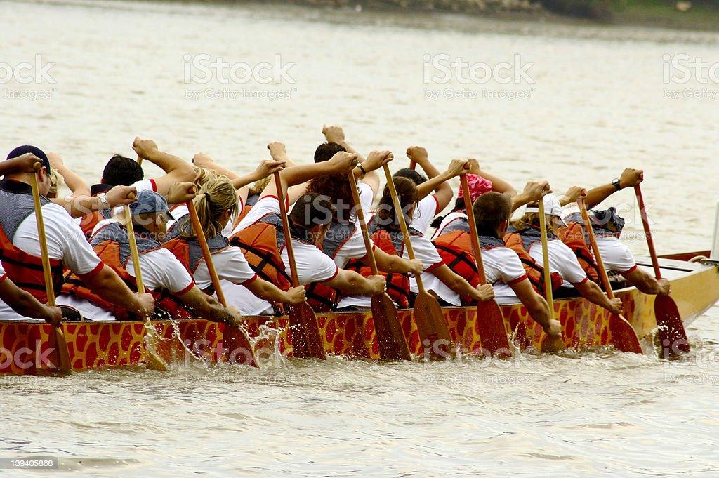 Canoe Team royalty-free stock photo