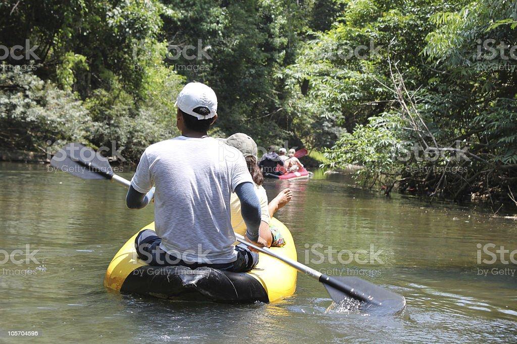 canoe trekking stock photo