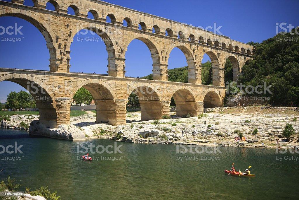 Canoeing below Pont du Gard stock photo