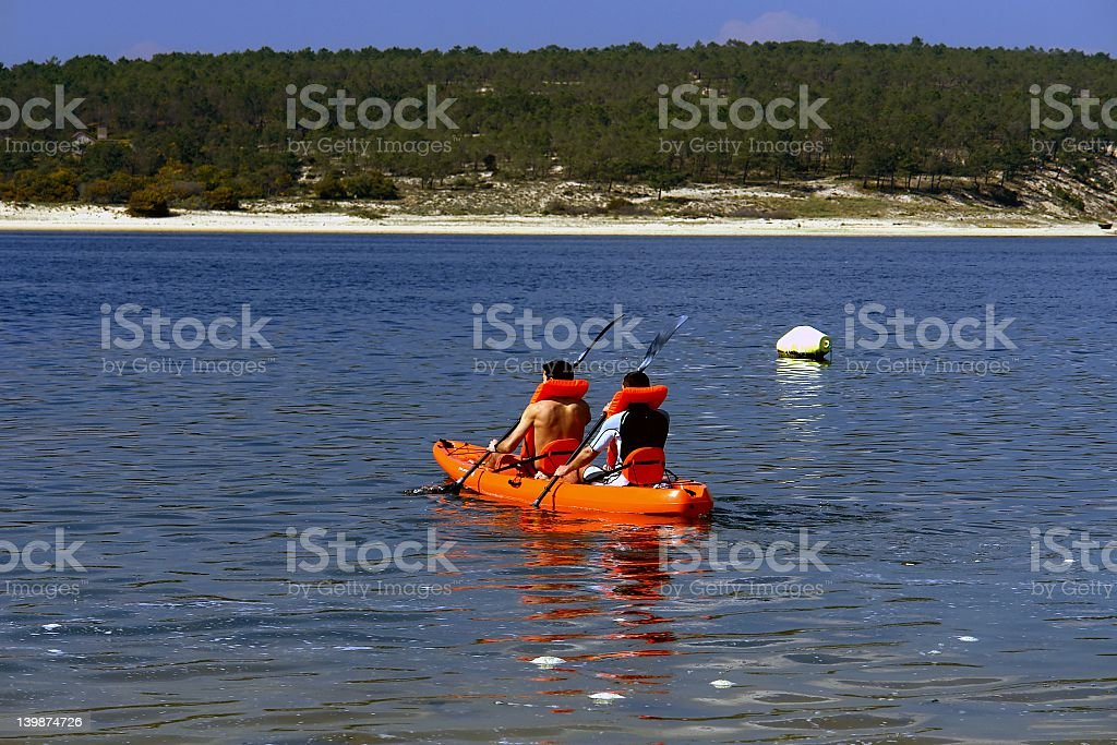 Canoeing boys royalty-free stock photo