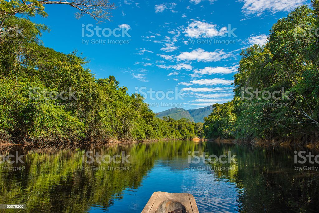 Canoeing down the Amazon River stock photo