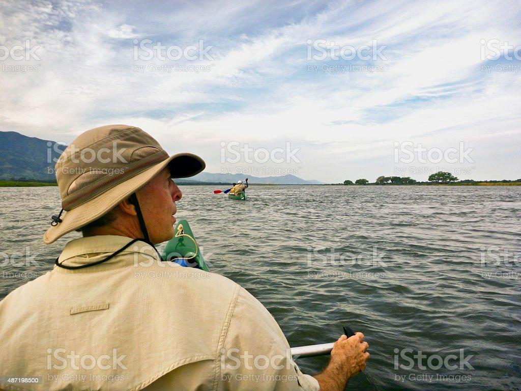 Canoeing down the Zambezi River stock photo