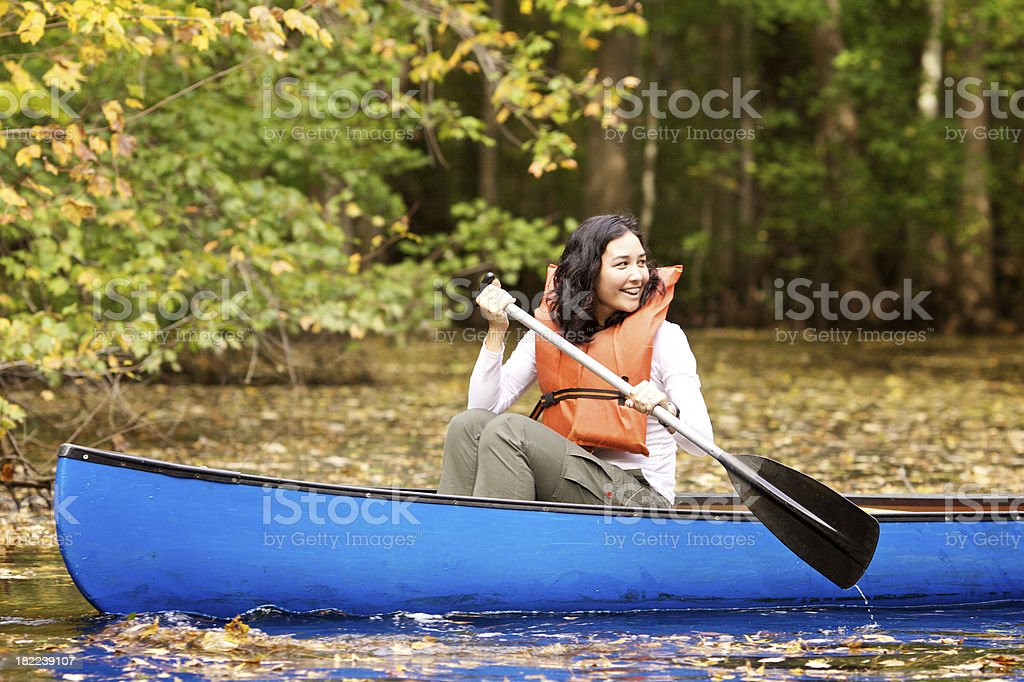 canoeing girl royalty-free stock photo