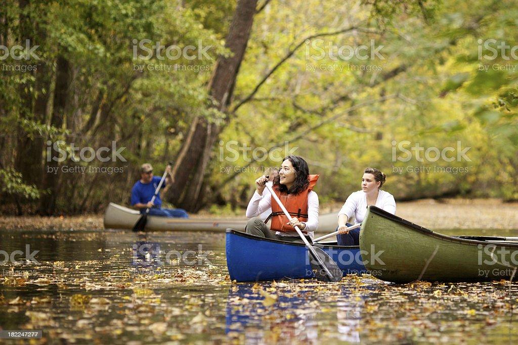 canoeing girls royalty-free stock photo
