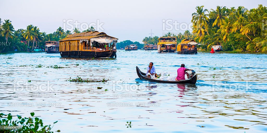 Canoeing in Backwaters of Kerala stock photo
