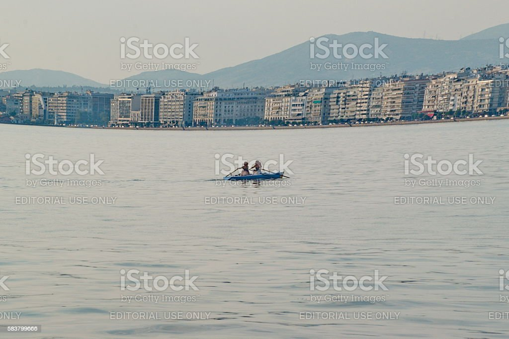 canoeing in the city stock photo