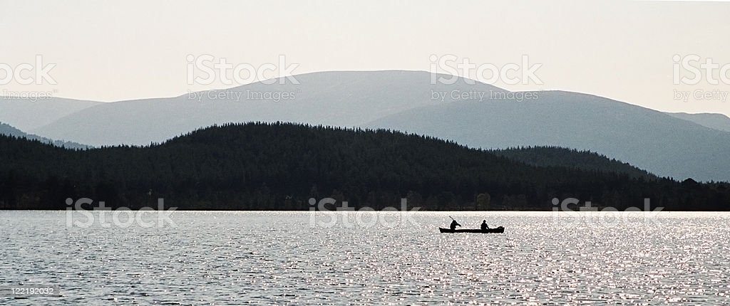 Canoeing in the Scottish Highlands royalty-free stock photo