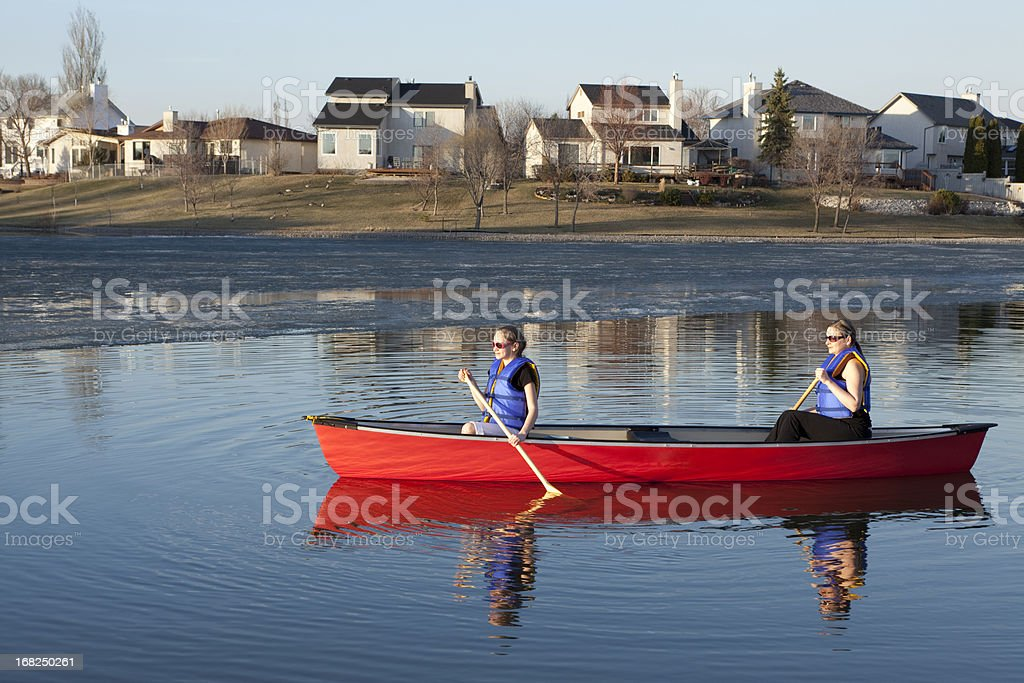 Canoeing in Winnipeg royalty-free stock photo