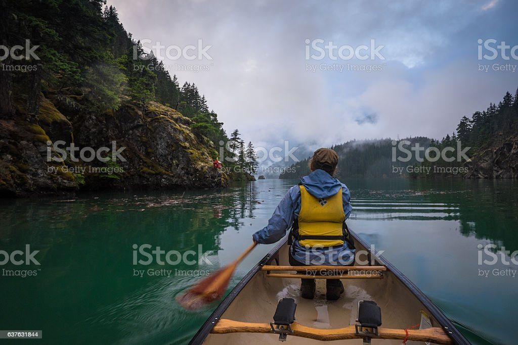 Canoeing on Diablo stock photo