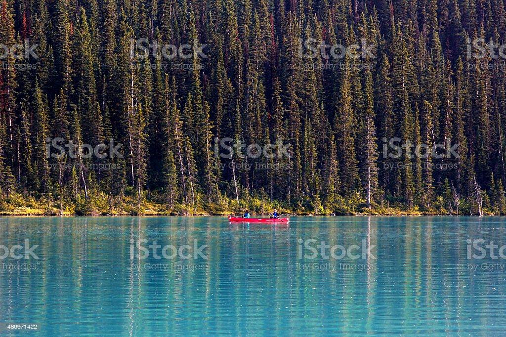Canoeing on Lake Louise stock photo