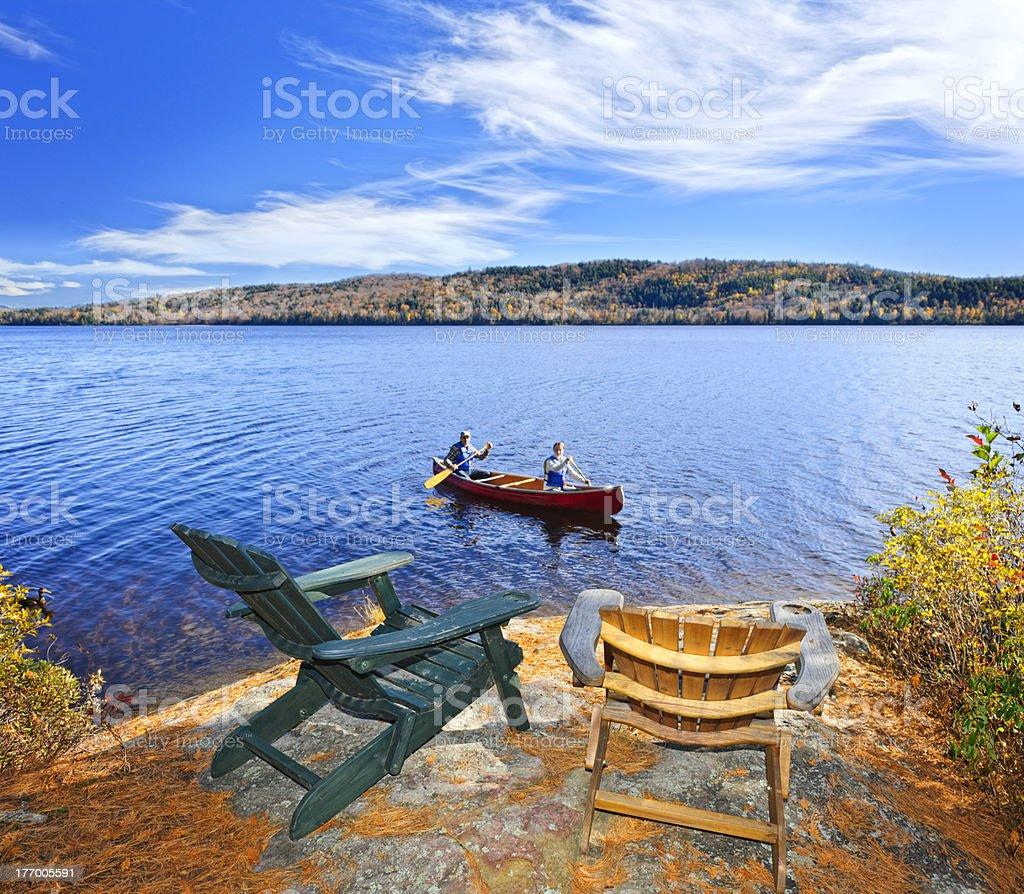 Canoeing on lake royalty-free stock photo