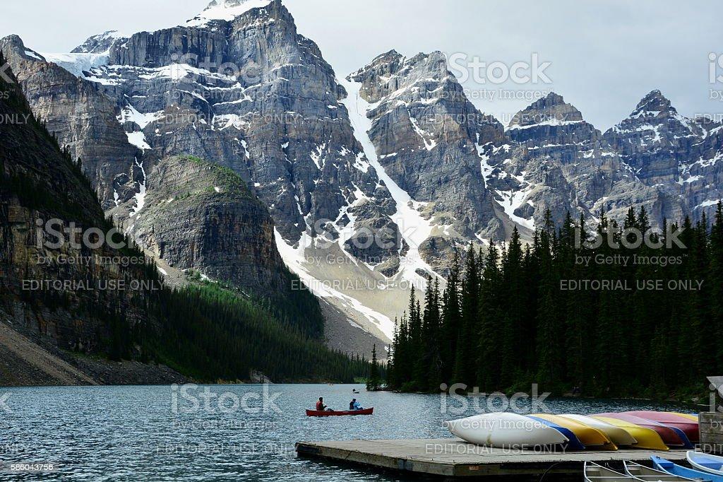 Canoeing on Moraine Lake stock photo