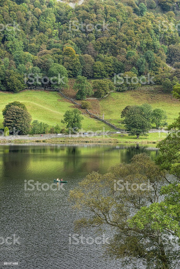 Canoeing on Rydal Water stock photo